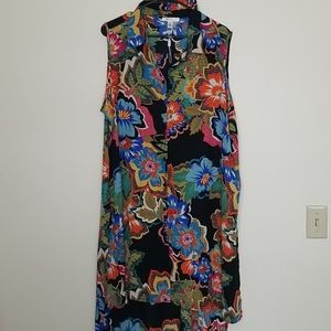 Spense Colorful Floral Buttondown Tunic